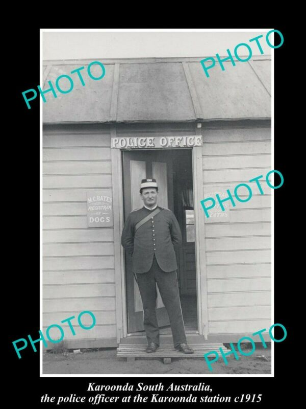 OLD POSTCARD SIZE PHOTO OF KAROONDA SA THE POLICE OFFICER AT STATION c1915