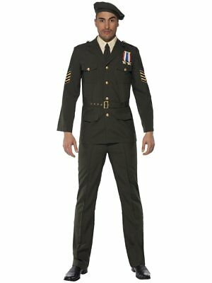 Smiffys Wartime Officer Army Military Green Adult Mens Halloween Costume - Adult Green Army Man Costume