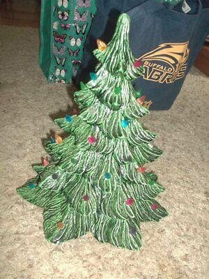 "Vintage Light Up Green Ceramic Christmas Tree 12 x 14"""