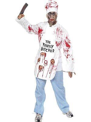 Halloween Herren Zombie Tötlich Koch Kostüm Kostüm & Hackbeil von - Zombie Koch Kostüm