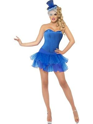 Sexy Halloween Adult Blue Burlesque Beauty Corset Costume w Tutu Skirt (Burlesque Beauty Kostüm)