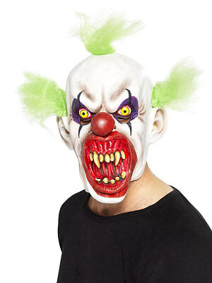 Scary Clown Mask Wide Mouth Green Hair ICP Evil Adult Creepy Halloween - Clown Mouth Halloween