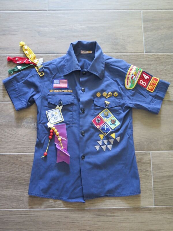 Vintage BSA BOY SCOUT of America Youth Shirt Rank Patches Medals Monterey sz 12