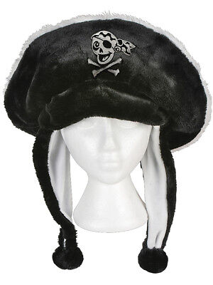 Black Plush Pirate Hat Skull And Crossbones Ear Cover Flaps Costume Accessory (Pirate Hat Skull Crossbones)
