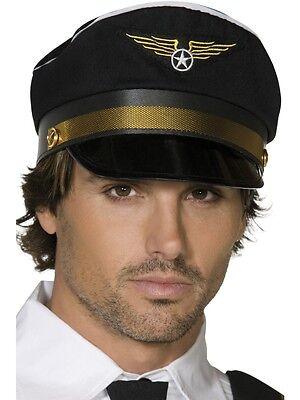 Mens Pilot Hat Black Gold Trim Aviator Captain Halloween Costume Large Adult NEW](Pilot Costume Hat)