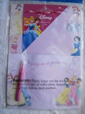Disney Princess Stationary Set Note Paper Envelopes Ariel Belle Jasmine (Princess Note)