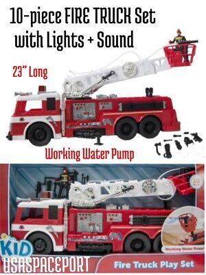 """10-piece Kids 23"""" FIRE TRUCK SET Lights+Sounds WORKING WATER PUMP Man Engine lot"""