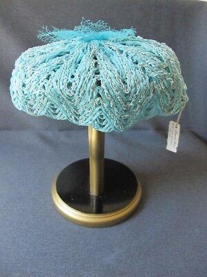 Vintage sky blue raffia pillbox hat with flower net with label