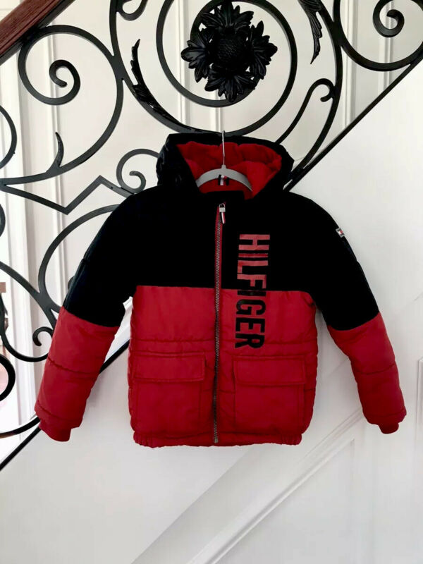 Tommy Hilfiger Boys Winter Puffer Jacket Red And Black Size 7
