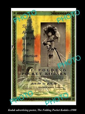 OLD HISTORIC PHOTO OF KODAK CAMERA ADVERTISING POSTER, PAN AMERICAN EXPO c1900