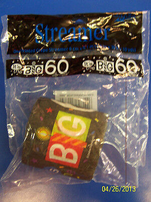 Over the Big Hill 60 Black Adult 60th Birthday Party Decoration Crepe Streamer