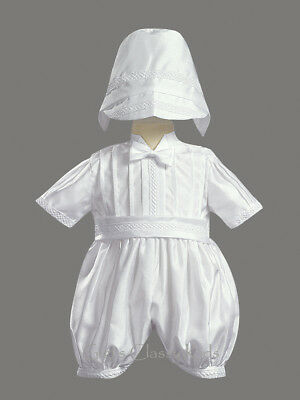 Baby Boys Christening Romper (White Baby Boys Shantung Romper 2 Pc Set Outfit Christening Baptism Dedication  )