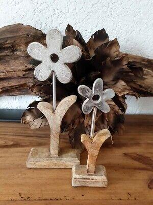 Blumendeko Metallblume Mangoholz Tischdeko Wohndeko ()
