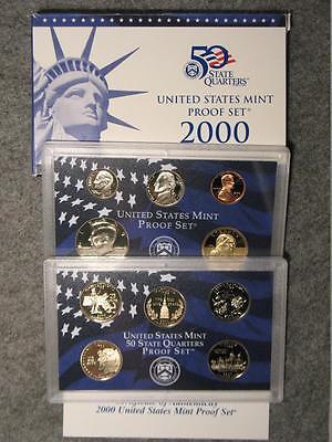 Nickel Proof Set (2000-S US Proof Set - Sacagawea Dollar Half Dime Nickel Cent & State Quarters )