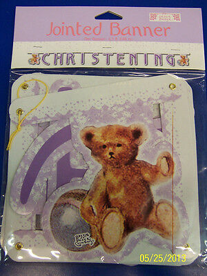 Christening Party Banners (Teddy Bear Christening Bessie Pease Gutmann Cute Party Decoration Jointed)