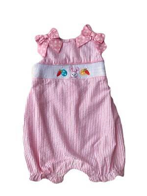Rare Editions Easter Pink Stripe Seersucker Bunny Smocked Bubble  3 6 9 Months (Pink Stripe Bubble)