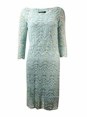 Lauren Ralph Lauren Women's Crochet Lace Overlay Dress (XS, Aquamarine)