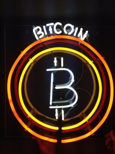 "New Bitcoin Neon Sign 20""x16"" Light Lamp Beer Bar Pub Real Glass Handmade"