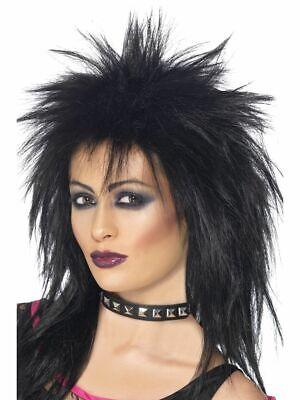 80s Rock Diva Wig Black Tina Turner Mullet Ladies Fancy Dress Costume Accessory - Rock Mullet