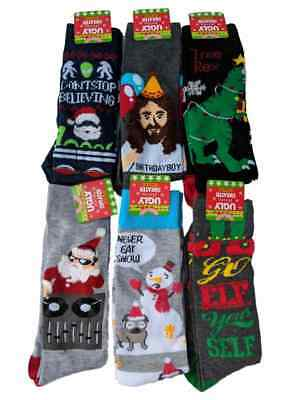Men's Ugly Christmas Sweater Socks Jesus T-Rex Aliens Dog Snowman DJ Santa Elf