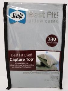Sealy Best Fit Pillow Cases 330 Tc Pearl Blue King Capture Top 100 Cotton 2