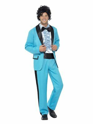 Smiffy's 1980 80's Prom King Blue Tuxedo Adult Mens Halloween Costume 43194 (King Costume)