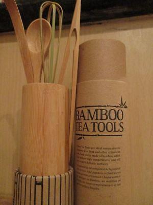 TEAVANA BAMBOO TEA KIT SET 4 TOOLS FOR MATCHA CAST IRON & ARTISAN TEA SETS NEW