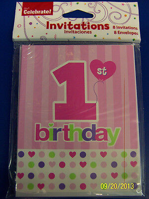 1st Birthday Hearts Pink Girl Cute First Birthday Party Invitations w/Envelopes - First Birthday Invitations Girl