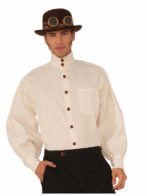 Adult's Mens Beige Steampunk Gentleman Shirt With Buttons Costume Accessory