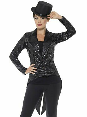 Halloween Costume Tailcoat (Smiffys Sequin Tailcoat Jacket Black Cabaret Halloween Costume Accessory)