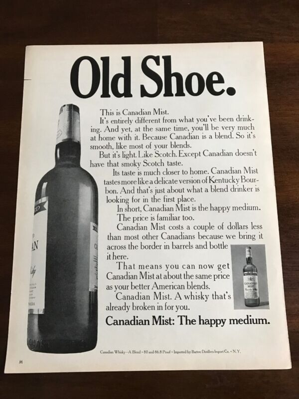 1967 VINTAGE 10X13 PRINT Ad CANADIAN MIST WHISKEY BROKEN IN LIKE AN OLD SHOE
