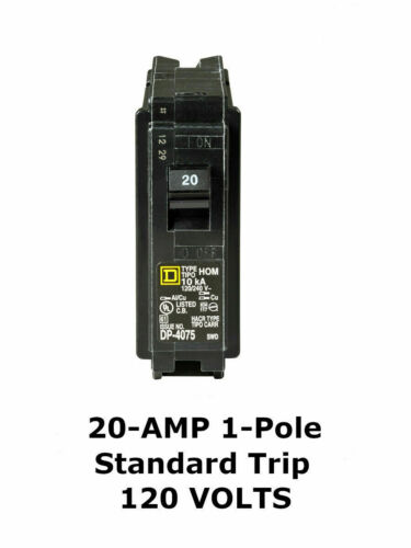 SQUARE D QO120  20 AMP 1 POLE CIRCUIT BREAKER 120//240 VOLT YELLOW FACE