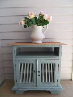 TV Unit Cabinet Timber Duck Egg Blue Chalkpaint Storage