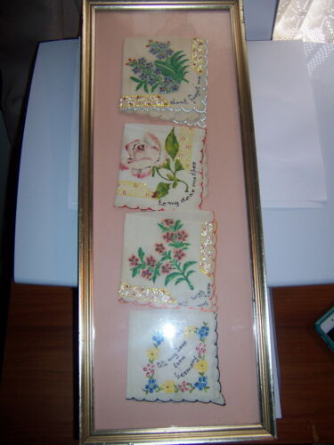Antique  hand painted  Silk Framed Hanky Handkerchief set to my Mother prose