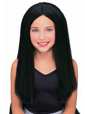 Kids Black Wig (Kids Childrens Costume Long Black Straight Witch or Vampire)