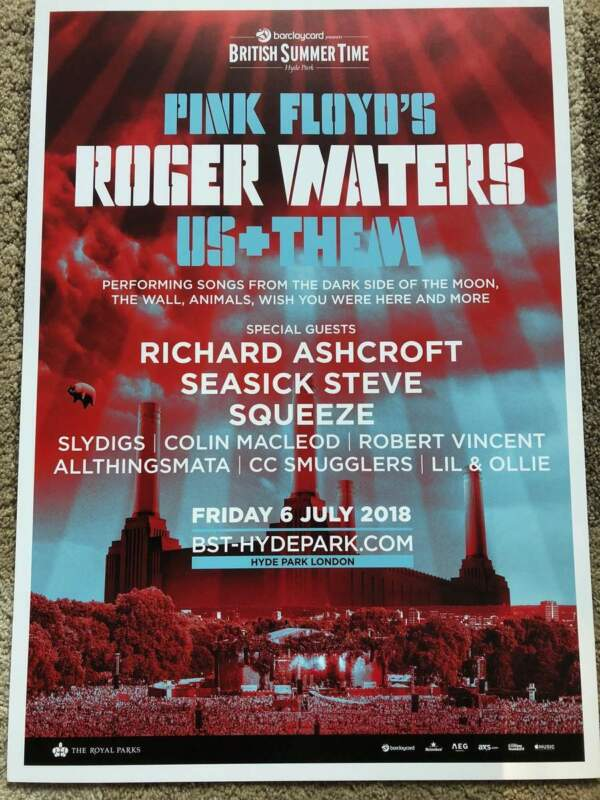 ROGER WATERS RARE POSTER OFFICIAL LONDON SHOW POSTER BST HYDE PARK PINK FLOYD