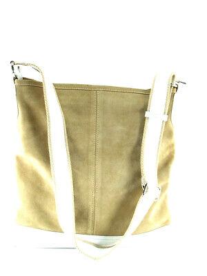 NEW ~ INNUE Tan Suede & White Leather Crossbody Messenger Tote Bucket Handbag