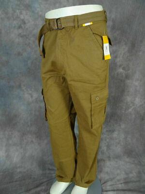 Mens Twill CARGO PANTS British Khaki CASUAL Button Flaps with Belt Casual Pant Khaki