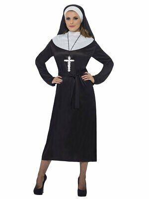 Black Robe Halloween Costume (Womens Nun Costume Habit Black Gown White Collar Halloween Fancy Dress Adult)