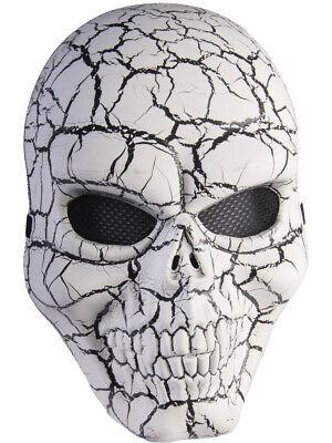 White Cracked Skeleton Skull Mask Halloween Costume - Cracked Skull