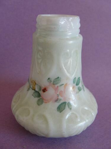 Antique New Martinsville Art Glass Salt Shaker Palmette Band Painted Florals