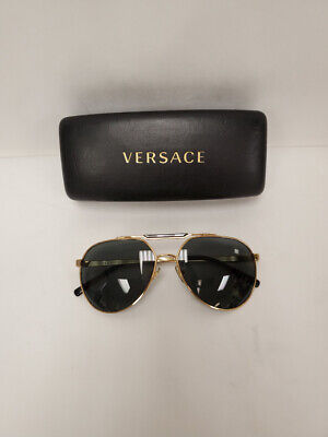 Versace Ve 2155 1002/87 59-15 Gold & Black Frames Aviator Sunglasses P6L48178A