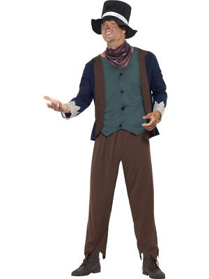 Mens Poor Victorian Man Fancy Dress Costume Male Dodger Outfit by Smiffys - Victorian Mens Outfit