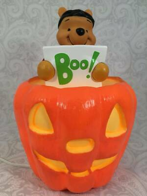 Paper Magic 1999  Light Up Disney Winnie The Pooh Blow Mold JackOLantern Pumpkin