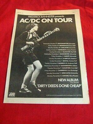 RARE AC/DC 1976 VINTAGE MUSIC PRESS POSTER ADVERT DIRTY DEEDS UK TOUR DATES