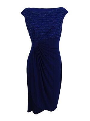 Connected Women's Glitter Stripe Faux-Wrap Dress