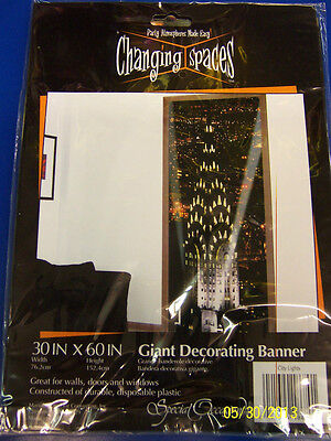 City Lights Downtown Skyline New Year's Eve Party Decoration Plastic Banner - Party City New Years Decorations