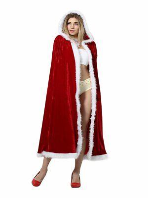 Weihnachten Santa Claus Umhang Kapuzenmantel Rot Samt für - Roter Samt Umhang