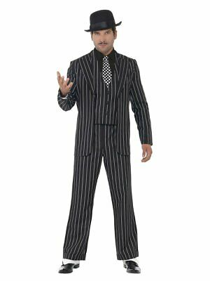 Smiffys Vintage Gangster Mafia Boss Stripe Suit Adult Halloween Costume 23042 - Mafia Boss Halloween Costume