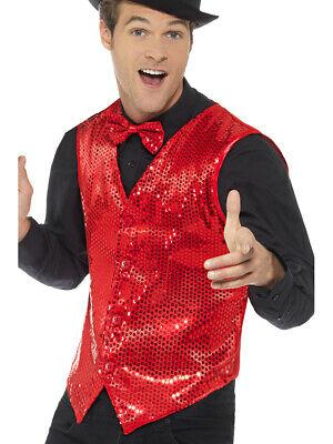 Red Costumes For Men (Mens Fancy Dress Red Sequin Magicians Waistcoat Vest)